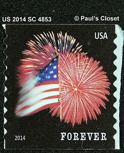 US 2014 49¢ FORT McHENRY AND FIREWORKS SC4853 COIL SELF-ADHESIVE VERY FINE