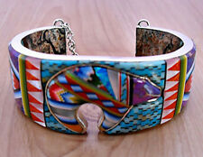 """CLEVER MULTISTONES TURQUOISE OPAL LAPIZ INLAY .925 SILVER CUFF BRACELET 6-3/8"""""""
