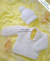 (401) Baby Knitting Pattern for Boys Girls Jacket & Hat, Premature/ 12-24''