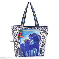 Laurel Burch INDIGO BLUE MARES Horses Large Shoulder Tote Travel Bag NEW 2016