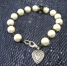 Lovely bracelet with faux pearls small black spacers & silver tone heart charm