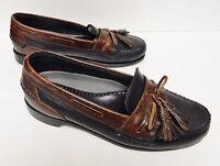 JOHNSTON & MURPHY Men's Loafers Shoes Slip On Tassel Leather Brown/Black 9.5 EEE