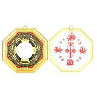 Wood Chinese Feng Shui Bagua Convex Mirror Protection for Treasure Wealth
