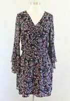 White House Black Market Scattered Print Boho Dress Size 4P Bell Sleeve Smocked