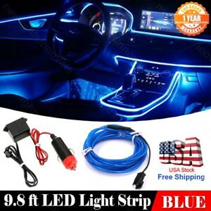 DC12V Car Interior Atmosphere Neon Light Strip Blue 9.8ft Cold Light Fit Toyota