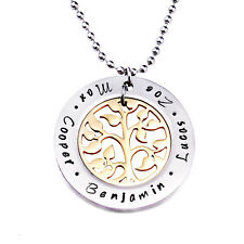 Personalised Matte Stainless Steel Family Name Golden Tree Of Life Necklace D213