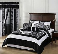 Okapi 7PC Comforter Set Micro Fur Zebra with Raffia Print Black White Cal-Twin