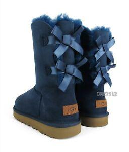 UGG Bailey Bow II Navy Blue Suede Fur Boots Womens Size 7 ~NIB~