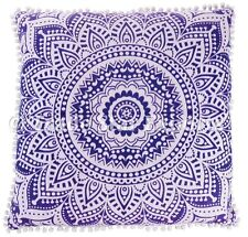 Large Mandala Euro Sham Pillow Case 26x26 Bohemian Square Cotton Cushion Cover