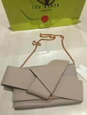 TED BAKER Taupe Bow Soft Leather Clutch or Shoulder Bag Logo RRP £229 : New