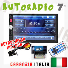 "AUTORADIO Touch 2 Din 7"" Universale MP3,MP4 DVR SD BLUETOOTH AUX + RETROCAMERA"