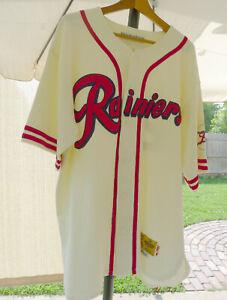Mens EBBETS FIELD FLANNELS Seattle Rainiers Baseball Jersey Off White Red XL VTG