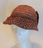 Vintage Cloche Hat Unique Woven Ribbon & Elastic.. Stretch To Fit