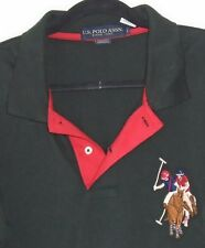 Vintage U.S. POLO ASSN. Golf Shirt Sz Lg RARE HUGE CREST Riders & Horses NEW