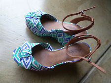 New Lucky Brand High Heeled Print Fabric Platform Shoes women's size 8