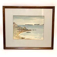 Vintage Gerard Perrault Watercolor Seascape Painting Listed Original