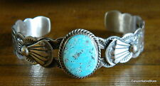 NEW Sterling Silver Turquoise Stampwork Navajo Cuff Bracelet SIGNED L. JAMES