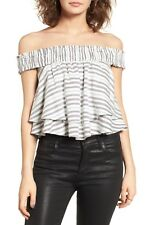 WAYF Northside Off The Shoulder Striped Layered Blouse Top Multi White XS $75