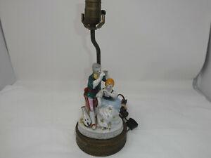 ANTIQUE VINTAGE PORCELAIN MAN & WOMAN FIGURE BRASS BASE TABLE ELECTRIC LAMP