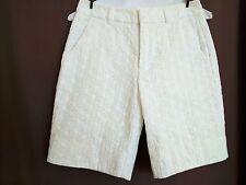 Nanette Lepore White Sandbar Eyelet Bermuda Shorts Size 0
