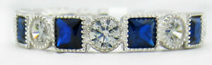 GEMSTONES BLUE & WHITE SAPPHIRE ETERNITY RING .925 Silver * NWT * Size 8.75