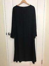 EILEEN FISHER 100% Silk Black Long Sleeve Maxi Dress Size Small