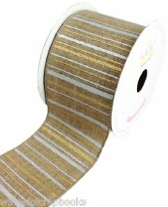 "10 Yards Canvas Ribbon by Creative Ideas Toffee Metallic Stripes 2 1/2"" Wide"