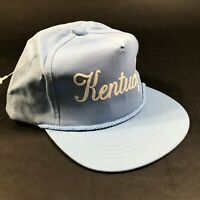 Vintage State of Kentucky USA Light Sky Blue Snapback Hat Cap Script Foam Letter