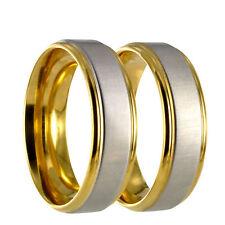 2 Edelstahl bicolor silber / gold Partnerringe Trauringe Eheringe + Gravur 20164