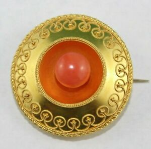 18K YELLOW GOLD MOURNING BROOCH WITH HAIR AND A CORAL CENTER STONE ON FRONT