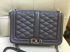 Valued $295! Rebecca Minkoff Quilted Leather Love Crossbody Bag in Gray