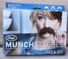 Genuine Fred and Friends Munchstaches Combination Cookie Cutters/Stamper NEW