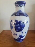 China Blue Fine Porcelain  Seymour Mann 1990's grapes design Asian china Vases