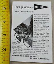 1953 RALEIGH BICYCLE PRINT AD MAGAZINE DEALER ADVERTISING VINTAGE