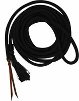 Showman 23' Round BLACK Nylon Braided Mecate Reins W/ Leather Ends! HORSE TACK!