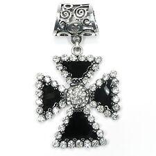 Neu SCHALHALTER Kreuz STRASSSTEINE kristallklar TUCHHALTER Schalring TUCHRING