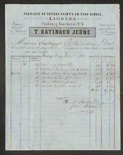 """LIMOGES (87) USINE de PAPIERS PEINTS """"T. RATINAUD Jeune"""" en 1868"""