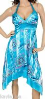 Blue Satin Handkerchief Hem Smocked Back Halter Dress M