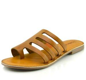 Ladies Sandals Womens Slippers Flip Flop Leather Beach Flat Beach Summer Stripes