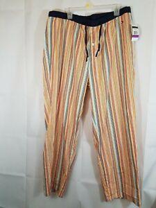 Tommy HILFIGER pants wear pajamas striped XXL ELASTIC WAIST LINE MULTI-COLOR