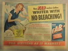 FAB Detergent Ad: New FAB Washes Whiter With No Bleaching !: FAB Ad from 1950's