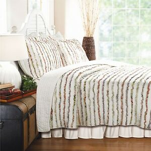 Full / Queen 100% Cotton Quilt Set Ruffled Multi-color Stripes