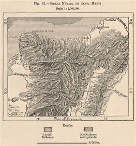 Sierra Nevada de Santa Marta. Colombia 1885 old antique vintage map plan chart