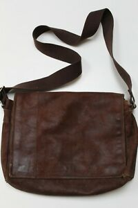 John Lewis men's brown suede leather messenger bag/crossbody bag