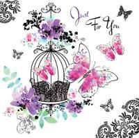 Le Chic Just For You Butterfly Design Modern Female Open Happy Birthday Card