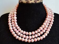 42 inches 9mm Potato Shape Pink Color Freshwater Pearl Long Necklace # 859
