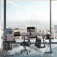 Set Of 2 L Shaped Desk Office Computer Glass Corner Desk With Keyboard Tray