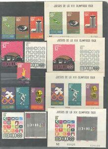 MEXICO 1968, MEXICO CITY OLYMPICS, Sc 996-1001,C340-C344,998a,1000a,C342a,C344a