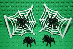 LEGO 4 x SPIDER No 29111 AND  2 x SPIDER WEB W. SHAFT 3.2 No 90981