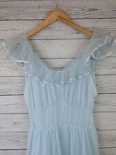 Vtg 1950s Van Raalte pastel baby blue Nightgown Womens Sz 38 nylon Ng34